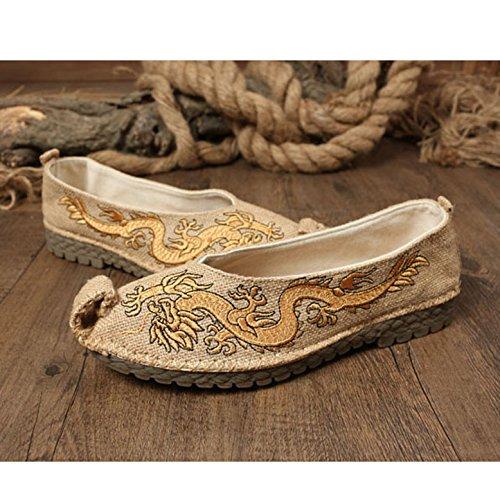 CHNHIRA Herren Kung Fu China National Schuhe Beige Drache
