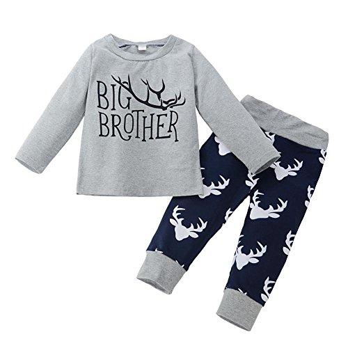 2pcs/Set Newborn Boy Baby Long Sleeve Letters T-Shirt + Antlers Pants(90cm)