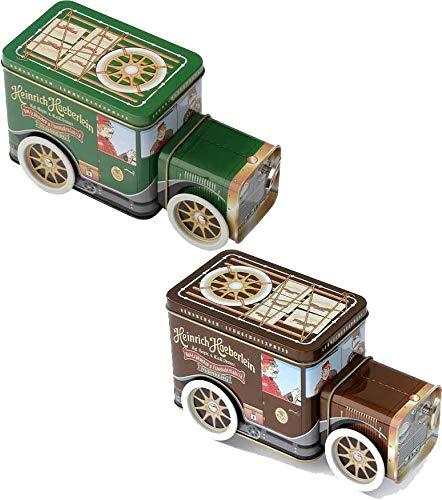 2 x Haeberlein Metzger Lebkuchen Express Grün und Braun Weinachtliche Spieluhr als Oldtimer mit Nürnberger Elisen Lebkuchen 2 x 200g