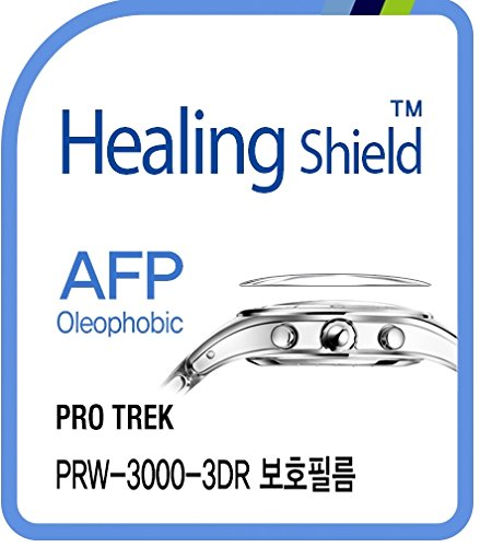 Healing shield Protectores de Pantalla Oleophobic AFP Clear Film for Casio Watch Protrek PRW-3000-3DR [Front 2pcs]