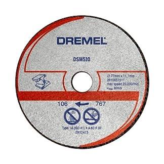 Dremel DSM510 – Discos de corte abrasivo, juego de 3 accesorios para sierra circular con 20 mm de profundidad para herramienta DSM20 para metal, aluminio, plástico, cobre