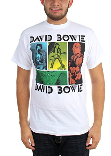 David Bowie - Herren-Colored Squares T-Shirt White