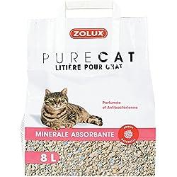 Zolux Litière pour Chat Pure Cat minérale absorbante 8 L parfumée antibactérienne