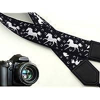 intepro weiß Pferde Kameragurt. Schwarz und Weiß Kameragurt. DSLR/SLR Kamera Gurt. Robust, leichtes und gut gepolstert Kamera Strap. Code 00045