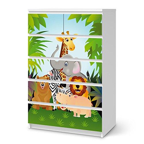 creatisto Möbel-Tattoo für IKEA Malm 6 Schubladen (hoch) | Deko Dekor Möbel-Folie Sticker | Inneneinrichtung renovieren Home Deko | Design Motiv Wild Animals