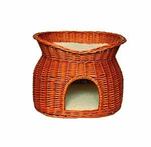 Cat Bed Wicker Honey Two Tier 55cm