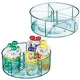 mDesign organiseur rotatif pour cuisine & salle de bain - bac de rangement rond 5 compartiments & bords surélevés - boite de rangement pour articles d'enfant en plastique et acier inoxydable