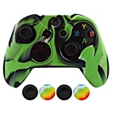 Hikfly Super Thicker Rubber Silicone Controller with 4pcs Thumb Grips Caps Kits for Xbox One Controller(Grün Tarnung)