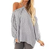 Manadlian Damen T-Shirt Frauen Langarm Hemd Frau Streifen Aus der Schulter Halfter Lange Ärmel Bluse Oberteile Hemd