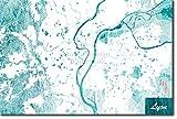 Lyon, France Conception de carte originale 'Blue Stroke' - Photo Poster Affiche Art Print Cadeau Map - Taille: 30cm x 20cm