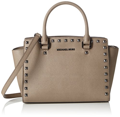 Michael Kors Damen Selma Medium Studded Top-Zip Henkeltasche, Beige (Dark Dune), One Size (Leder Studded Tote)