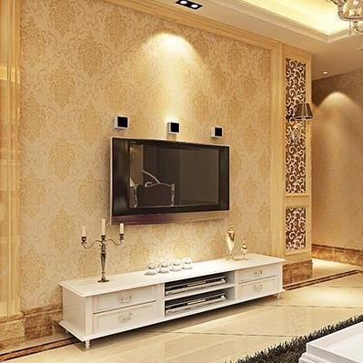 YANCEN Non-Woven Wallpaper _ Damascus, Non-Woven Wallpaper Gold European Style Bedroom Full Shop ,Beige 8022,10 Meters Long And 0.53 Meters Wide 5.3