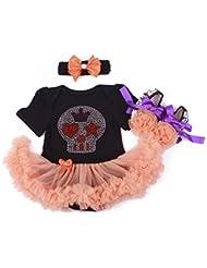 Highdas recién nacidos bebé niñas Halloween Calabaza del mameluco Romper Tutu vestido de noche + Banda de cabeza + Zapatos 3 pcs, 0-18 Meses