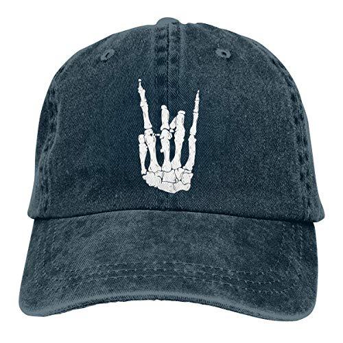 Wdskbg Bone-Rock Gesture Unisex Adjustable Vintage Cowboy Hat Denim Baseball Caps Multicolor9