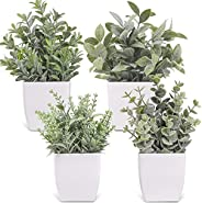 Der Rose 4 Packs Small Fake Plants Artificial Greenery Potted Plants for Bathroom Farmhouse Kitchen Decor