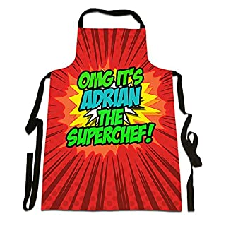 OMG It's Adrian The Superchef!', Personalised Name, Funny Comic Art Style Design, Canvas Apron,, Size 25in x 35in approximately
