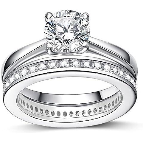 UK Sreema - Anello in argento Sterling da donna Anello da matrimonio, motivo: Full Eternity, per anniversario, con finti diamanti. Stampigliatura: 925., Argento, 16, cod. LE
