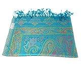 Luxus Seidenschal Schal 100% Seide jacquard gewebt elegante Farben mit Fransen 75 x 185 cm Paisley Muster Seidentuch - VIELE MUSTER (Türkis-Rose)