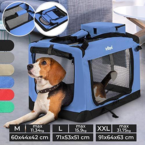 Hundebox - aus Stoff, S bis XXL, Faltbar, Tragbar, Abwaschbar, Größenwahl, Farbwahl - Hundetransportbox, Auto Transportbox, Katzenbox für Hunde, Katzen und Kleintiere (L (15.9kg/71x53x51cm), Blau)
