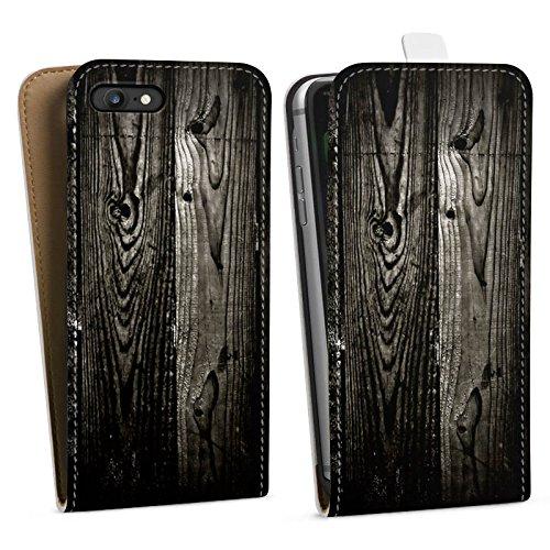 Apple iPhone X Silikon Hülle Case Schutzhülle Ebenholz Look Holz Schwarz Holzwand Downflip Tasche weiß
