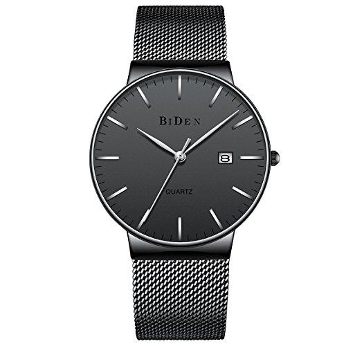 Homme montres en acier inoxydable noir luxe classique avec calendrier imperméable à l'eau Quartz Milanese Mesh bande montre-bracelet pour les hommes