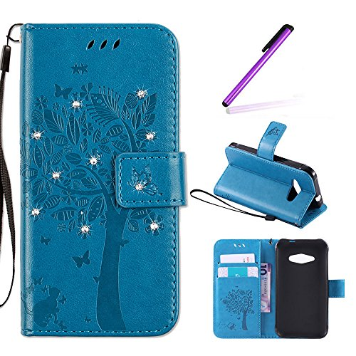 EMAXELERS Samsung Galaxy J1 Ace Hülle Glitzer Bling Wishing Tree Schmetterling PU Leder Flip Magnetisch Book Wallet Brieftasche Hülle für J1 Ace SM-J1 Ace 4.3-Inch,Blue Wishing Tree with Diamond