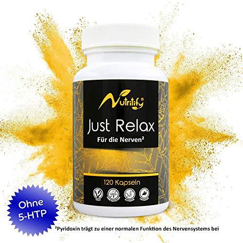 FÜR DIE NERVEN² von nutritify® JUST RELAX - 120 rezeptfreie Kapseln als natürlicher Stimmungsaufheller | Johanniskraut & L-Taurin. B6² für die Psyche & Nervensystem | B12³ gegen Müdigkeit und Ermüdung