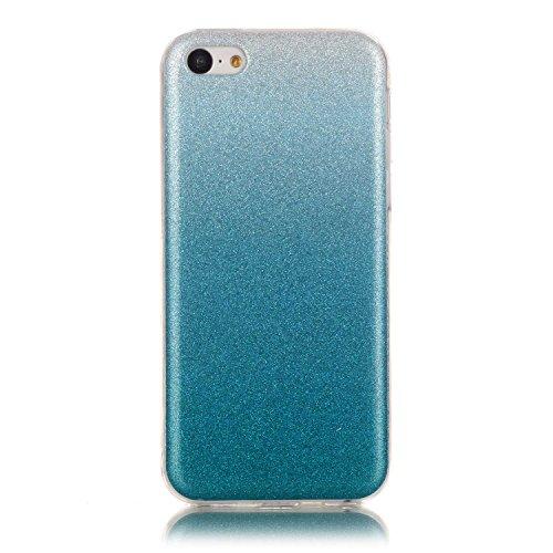 iPhone 5C Hülle Weiches Silikon Glitzer Schutzhülle Tasche Case,iPhone 5C Hochwertig Leicht Gummi Schutz Hoch Handyhüllen Schale Etui,Herzzer Modisch Luxus Silikon Bunt Hülle [Farbverlauf Gradient Far Blau