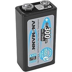 ANSMANN piles rechargeables9V / Type 300mAh / E-Bloc NiMH / 6F22 / Accumulateur préchargé avec faible auto-décharge et haute capacité / Idéal pour les jouets, les lampes de poche, les télécommandes et autres. / 1 unités