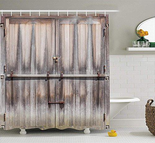 CHUNHUA Rustic Shower Vorhang Retro Eingang mit Padlock zum Abandoned House Wooden Gate Rough Oak Agriculture Image Fabric Bathroom Decor Set mit Haken Brown Grey