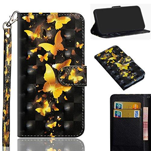 sinogoods Für LG X Power2/X Power 2/M320N/M320F Hülle, Premium PU Leder Schutztasche Klappetui Brieftasche Handyhülle, Standfunktion Flip Wallet Case Cover - Goldener Schmetterling