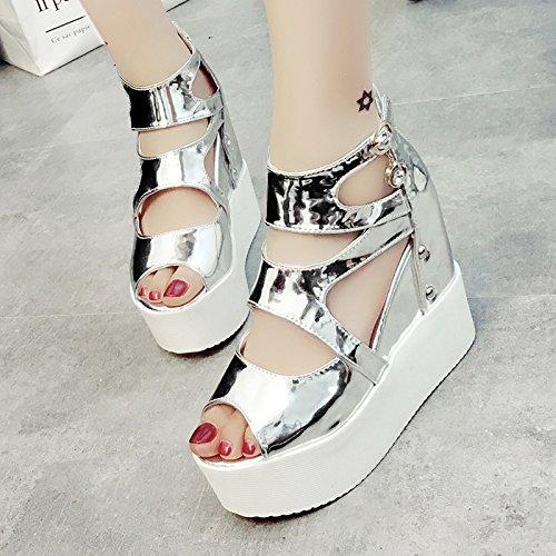 XY&GKSandales femmes Muffin à fond épais Sandales femme gaze accrue de poisson d'été bouche Super High Heels Fashion Chaussures femmes silvery
