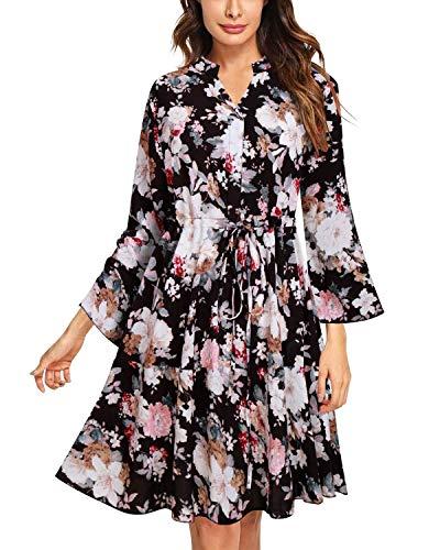 SOLERSUN Kleider für Frauen Knielang, Boho Kleider für Frauen Vintage Floral Print Flowy Party Kleider mit Ärmel Schwarz XXL (Flowy Kleid Mit ärmeln)