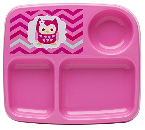 Zak. Designs Toddlerific Assiette pour enfant avec hibou rose à 3 sections, No-tip Large Base, incassable et plastique sans BPA