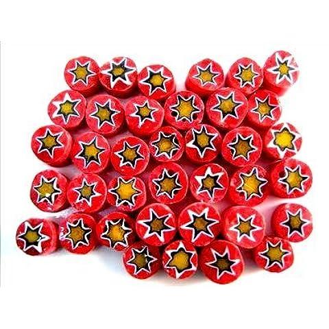 50g Millefiori Rossa con Stelle Gialle 8mm Approssimativamente 125 pezzi