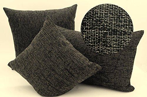 heimtexland edle Kissenhülle meliert mit Struktur in hochwertiger Bouclé Leinen-Optik mit Reißverschluß - in schwarz-anthrazit 40x40 cm - Kissen Typ314 (Schwarz Bouclé)