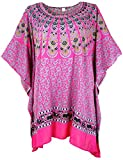 Guru-Shop Kaftan, Ibiza-StyleTunika, Boho Bluse, Damen Maxibluse, Pink, Synthetisch, Size:One Size, Blusen & Tunikas Alternative Bekleidung