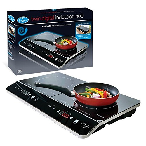 51CRRL1jd%2BL. SS500  - Quest 35840 Digital Induction Hob Hot Plate with 10 Temperature Settings and Touch Control, Double, 2800 W, Black