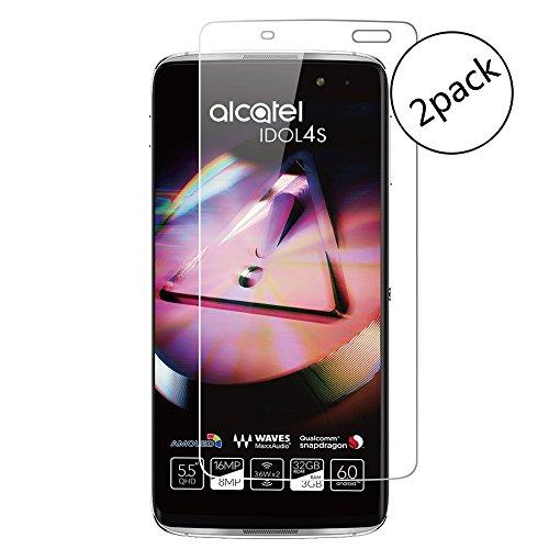 Wrcibo [2-Pack] Alcatel Idol 4S Film Protection écran, 9H 0,26mm Screen Protector Ultra-Résistant et Anti-traces de doigts, Film Protecteur D'écran en Verre Trempé HD