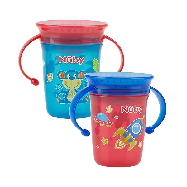 Nuby Sipeez 360 Degree Wonder Mini Cups, Assorted colors, Pack of 2 1