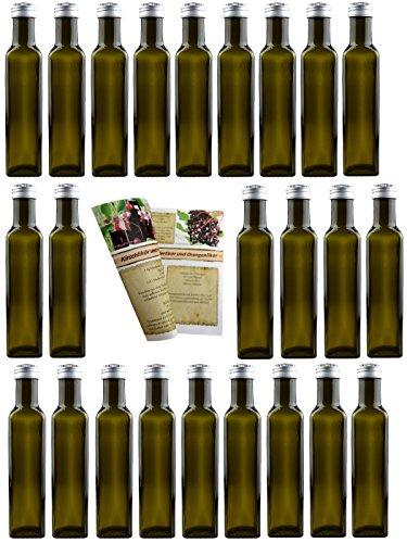 24er Set leere Glasflaschen 'Mara Antik' 250 ml incl. Schraubverschluss und...