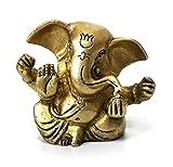Deko Figur Ganesha Figur vierarmig sitzend, Statue aus Messing Höhe 6 cm, Hindu Gott Buddha Indien Asien Elefantengott Baby Ganesha Elefant