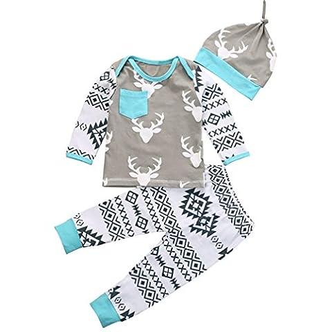 Bekleidung Longra 1 Set Christmas Baby Jungen Mädchen Hirsch Outfits Kleidung Set Strampler Romper Tops + Hosen + Hute (70)