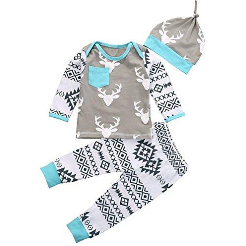 Bekleidung Longra 1 Set Christmas Baby Jungen Mädchen Hirsch Outfits Kleidung Set Strampler Romper Tops + Hosen + Hute (80)