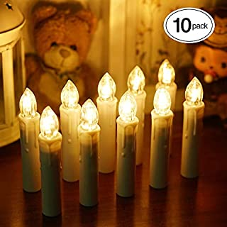 BlueFire 10pcs LED Candle Lights, Timer Remote Control Flickering Flame Battery Operated with Candleholder Clips Waterproof Christmas Tree Candles for Home Wedding Outdoor Party Decor (Warmwhite)