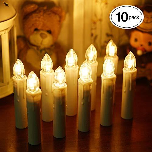 ShinePick 10er Set Led Kerzen, Weihnachtsbaum Kerzen, Weihnachtsbaum Lichterkette Batterie, Flackernde Flamme Fernbedienung Timer Einstellbare Helligkeit Wasserdichte mit Kerzenhalter Clips(Warmweiß)