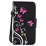 Roreikes Apple iphone 5S 5 SE Hülle, Slim Retro Schmetterling und Blume PU Leder Bookstyle Handyhülle Tasche Flip Wallet Case mit Strap Portable Handytasche Anti-Scratch Shell Cash Pouch ID Card Slot Magnetverschluss Etui Soft Silikon Back Cover Folio Schale Schutzhüllen für Apple iphone 5S 5 SE - Schwarz