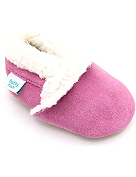 [Patrocinado]Dotty Fish Zapatos de gamusa Para Bebés Para Niños y Niñas. Pantuflas EN Tan, Rosa y Azul Marino. 0-6 Meses a...
