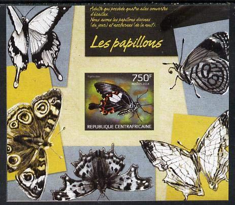Central African Republic 2014 Butterflies #01 imperf s/sheet A - u/m BUTTERFLIES JandRStamps