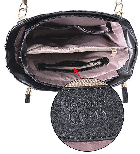 Borse Donna,Coofit Moda 3 Pezzi Borse in Pu Pelle Tote Bag Borsa a Tracolla Borsetta Nere nero coofit